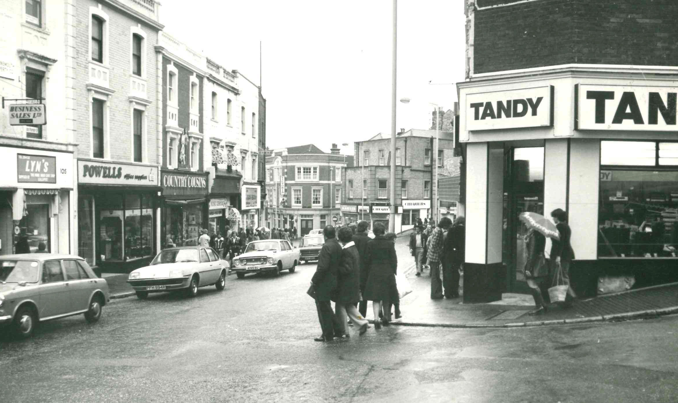This picture taken from the corner of St Michael's Road looking down towards Commercial Road was taken in 1976.