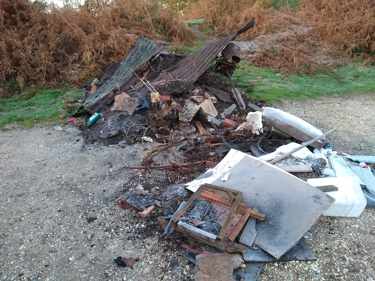 The rubbish flytipped at Burbush car park near Burley