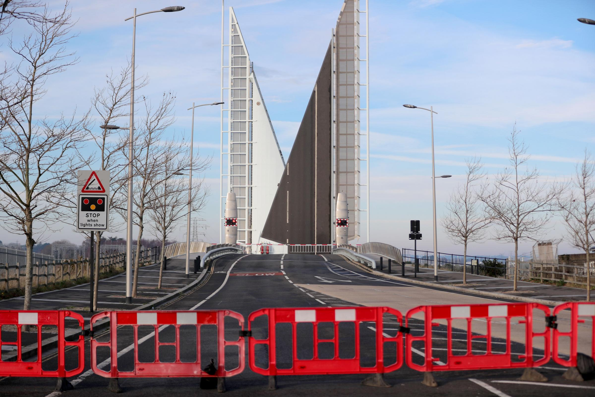 The Twin Sails Bridge in Poole which is closed to traffic