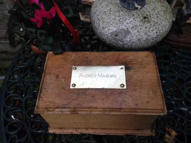 The box found on the beach by Lesley Dedman between Avon Beach and Mudeford Quay before Christmas bearing the name Audrey Maguire.