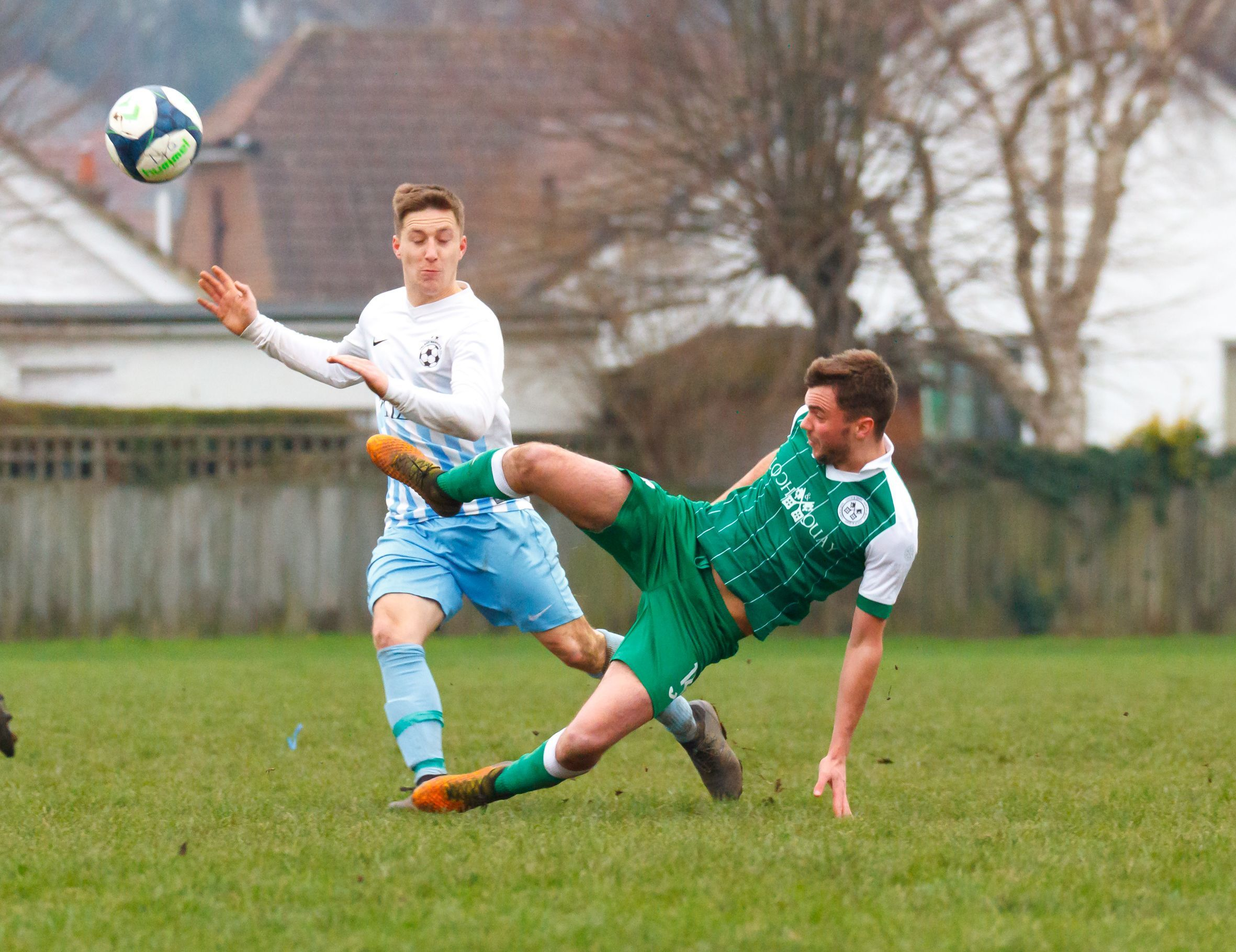 OFF HIS FEET: Action from Loch & Quay's win over Talbot Rangers in the Hampshire Sunday Senior Cup (Picture: BHFL)