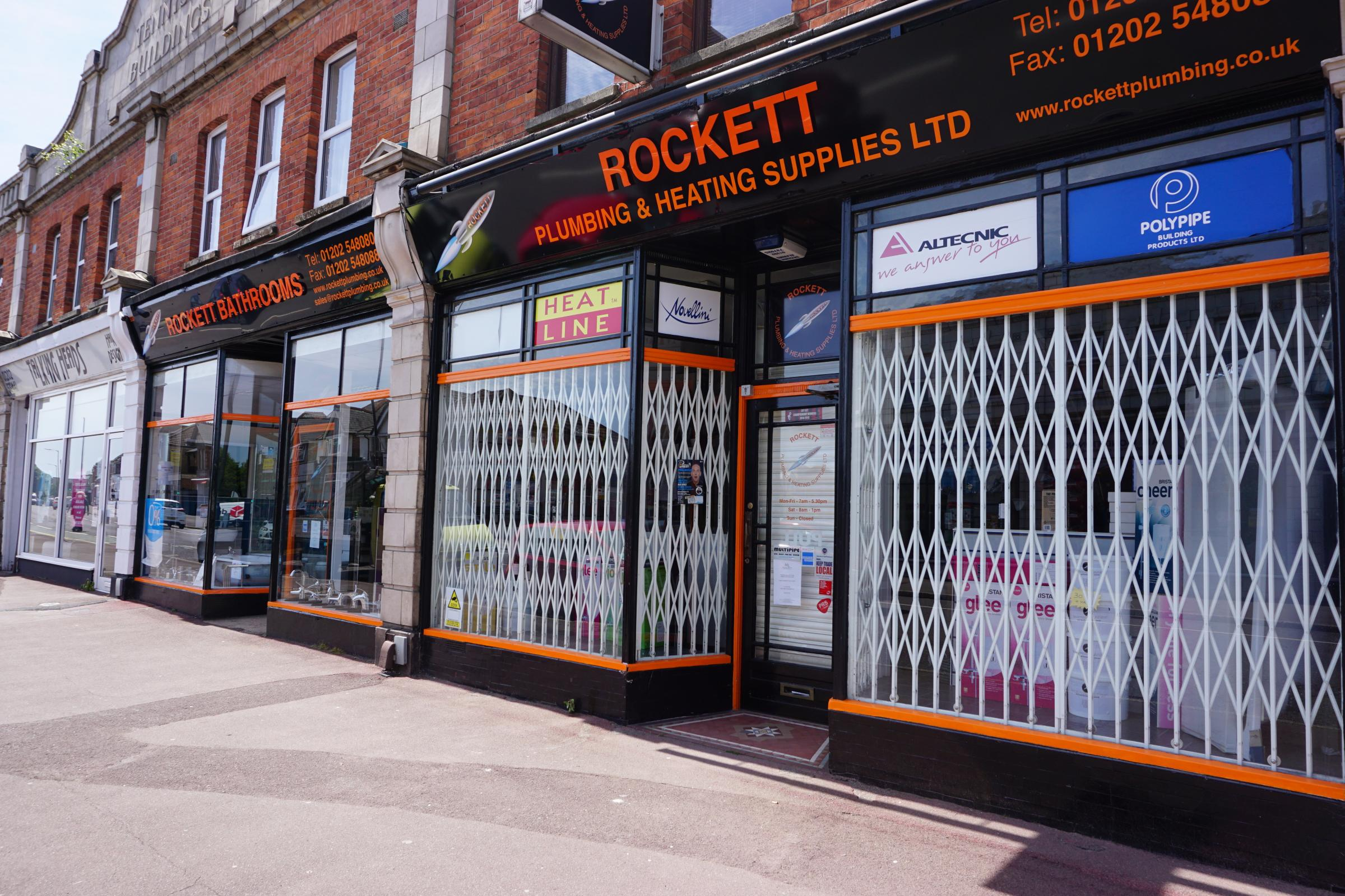 Rockett Plumbing & Heating Supplies in Wimborne Road, Bournemouth, closed in 2017