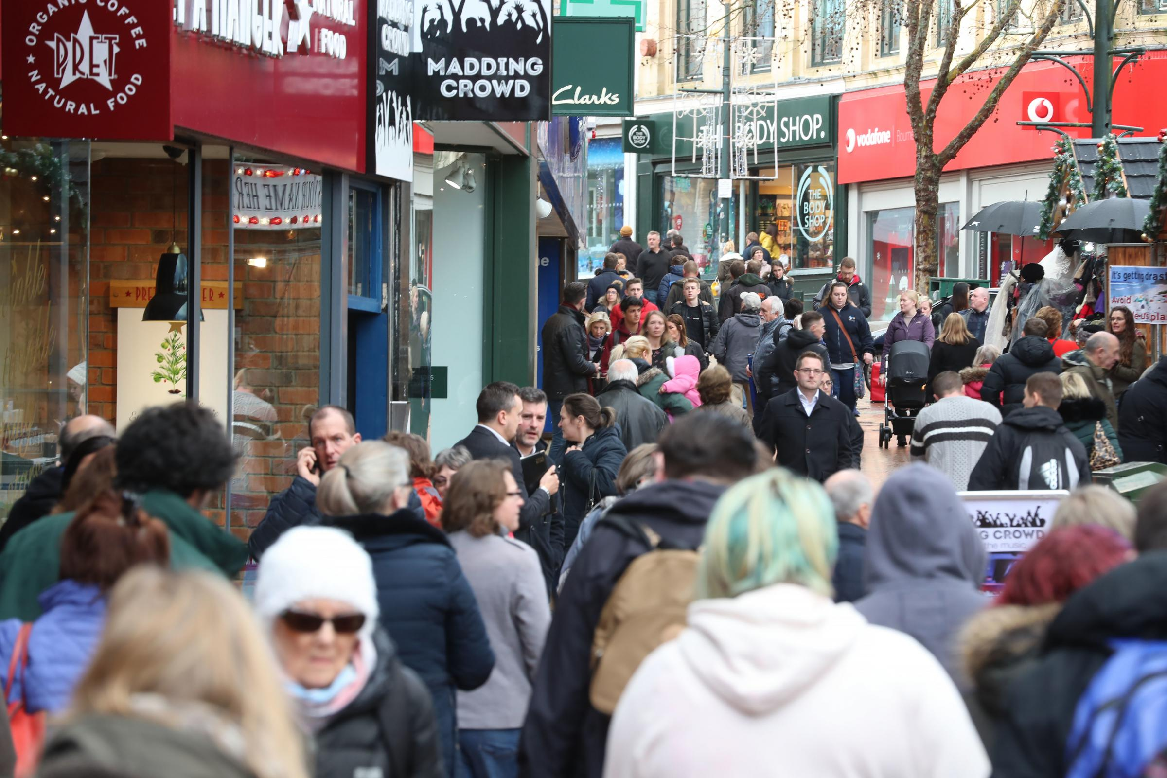 Shoppers in Bournemouth town centre