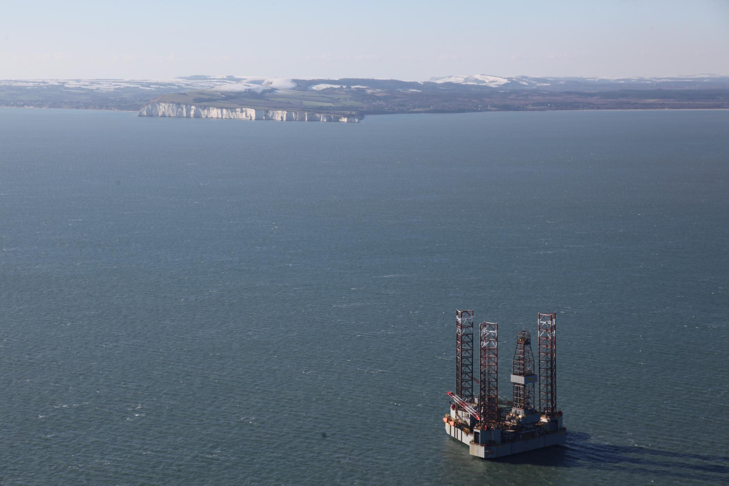Oil rig in Poole Bay. Picture: Bliss Aviation