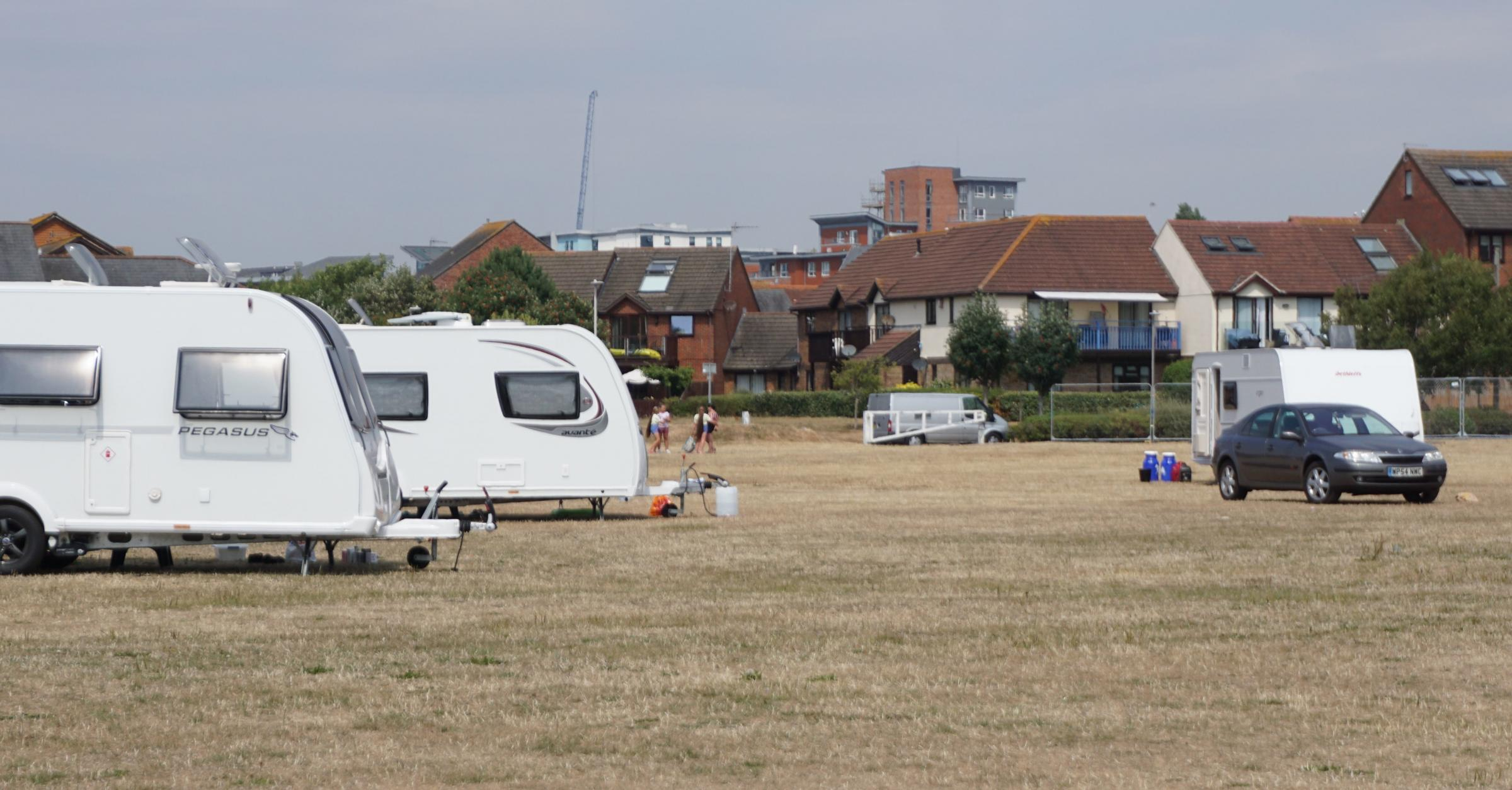 Travellers at Baiter Park in Poole for the third time this summer