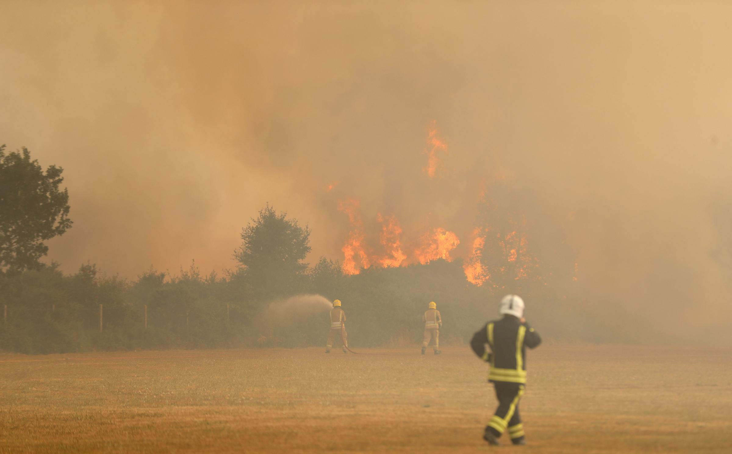 BLAZE: Firefighters at the scene of a huge fire at Ferndown Common last summer
