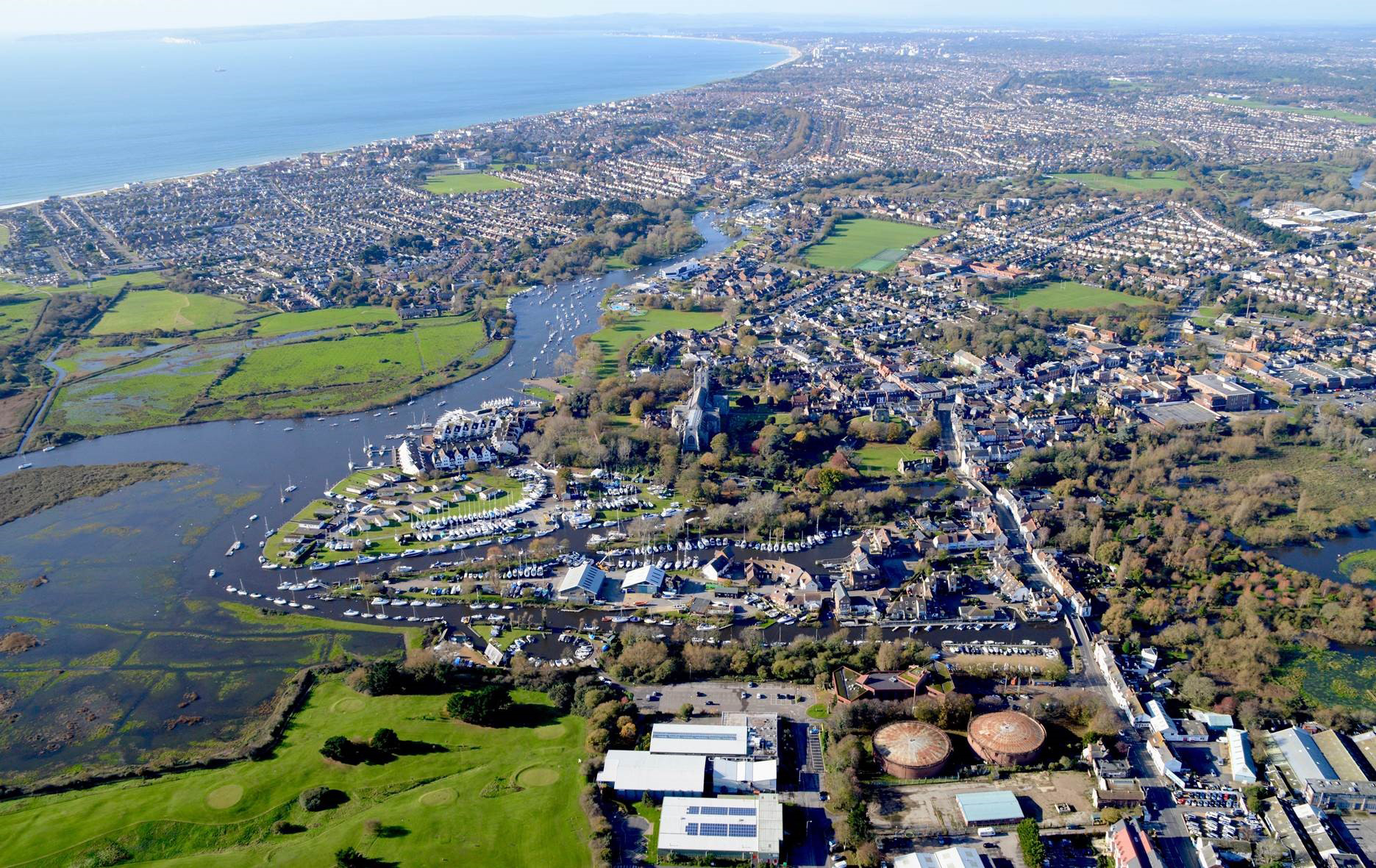 Aerial view of Christchurch merging with Bournemouth, and Poole. Photo: Stephen Bath