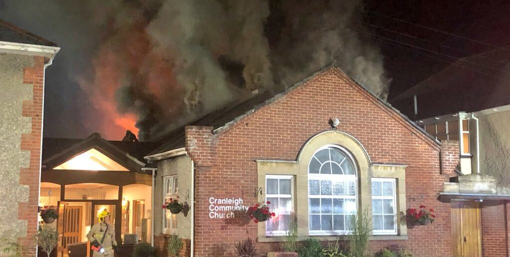 The fire at Cranleigh Community Church. Picture: Kristian Ward
