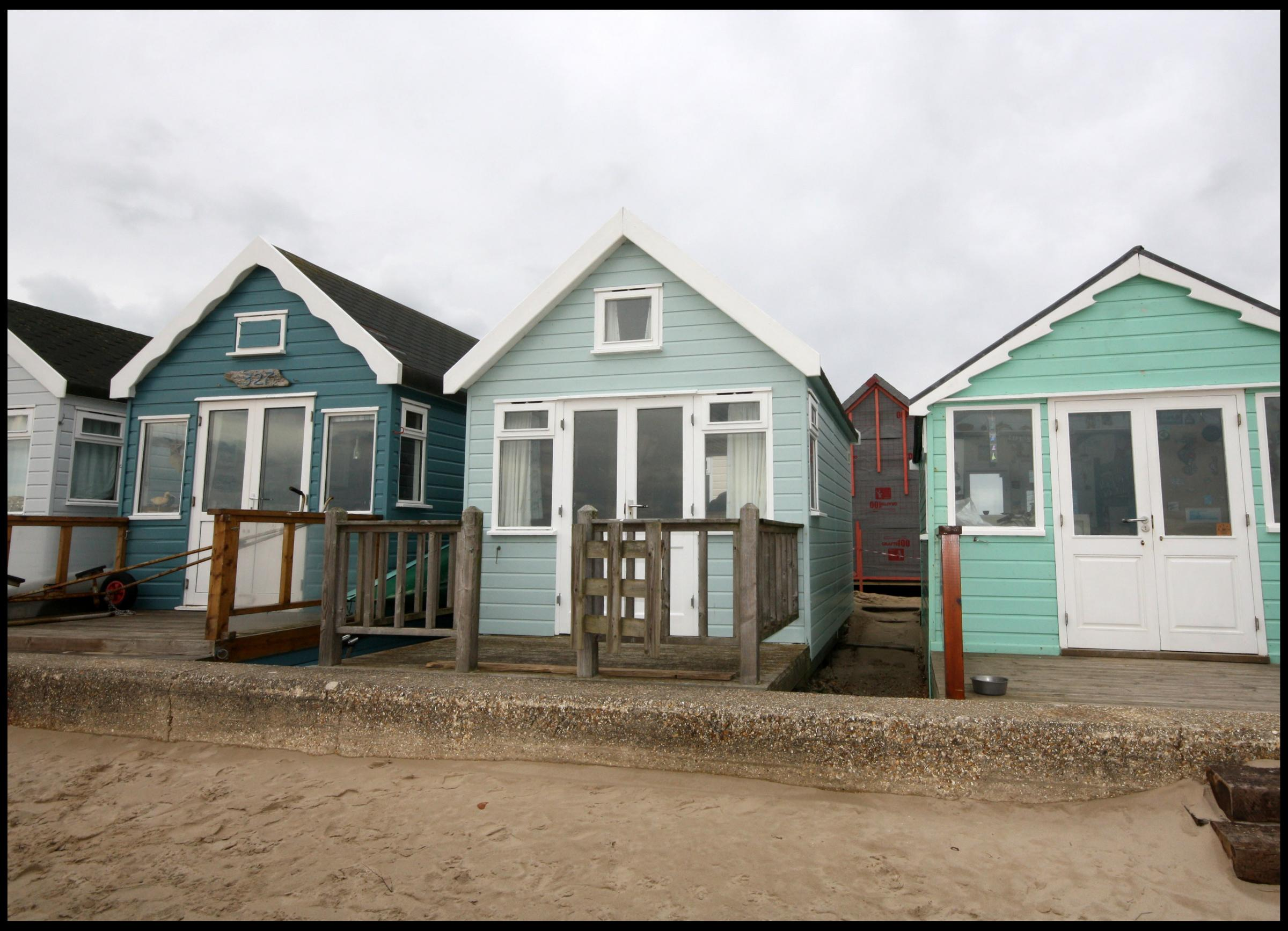 Hut 325 at Mudeford Sandbank is on the market for £275,000. Picture: Denisons estate agents