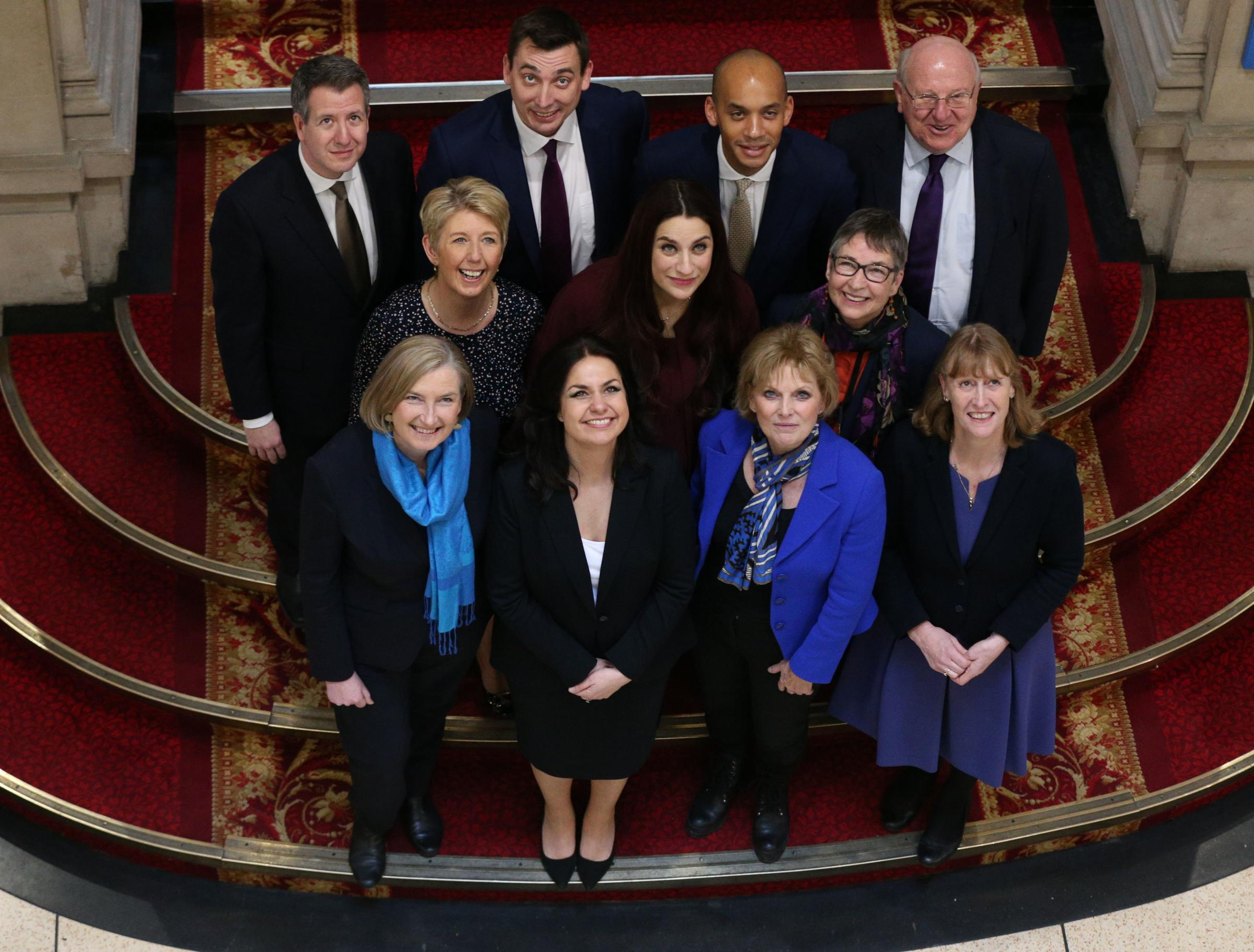 Chris Leslie, Gavin Shuker, Chuka Umunna and Mike Gapes, Angela Smith, Luciana Berger and Ann Coffey, Sarah Woollaston, Heidi Allen, Anna Soubry and Joan Ryan, following a press conference for the Independent Group (Picture: Jonathan Brady/PA Wire)