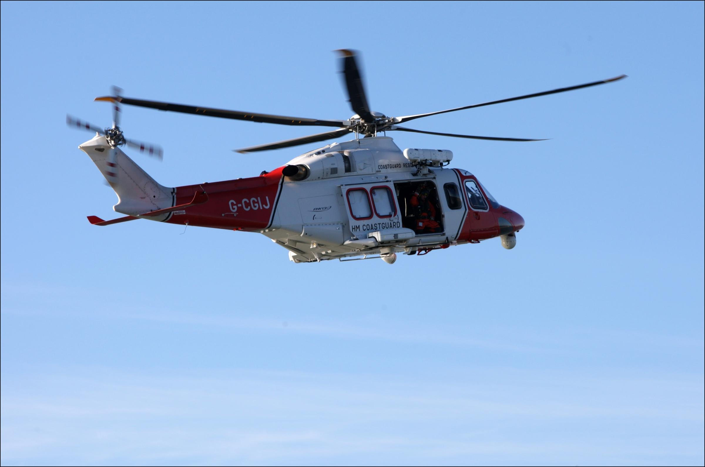 HM Coastguard helicopter off the coast at Lee on Solent. January 1st 2013..