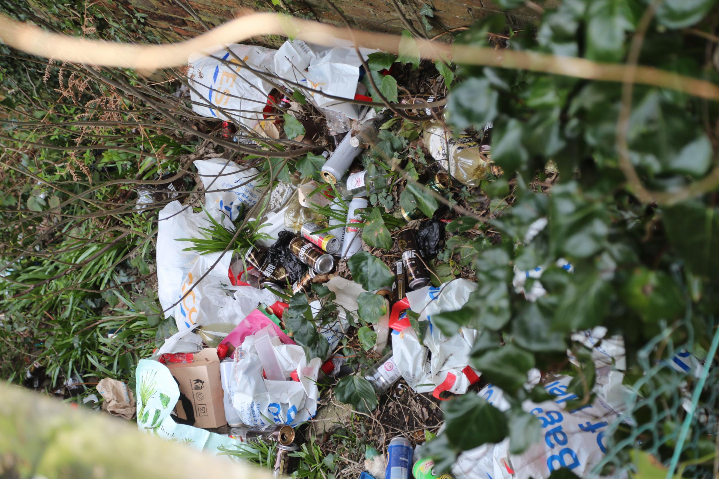 Rubbish thrown on land near the railway lines in Bournemouth