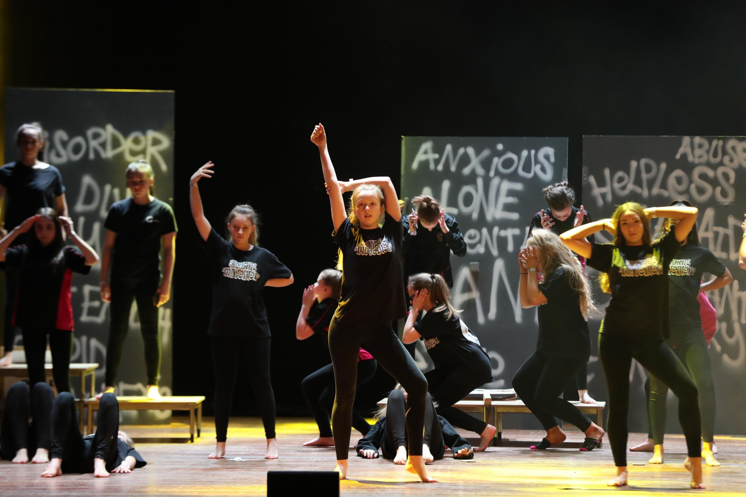 The Bourne Academy rehearing for Bournemouth's Rock Challenge heat 2019. Picture: Bournemouth Daily Echo