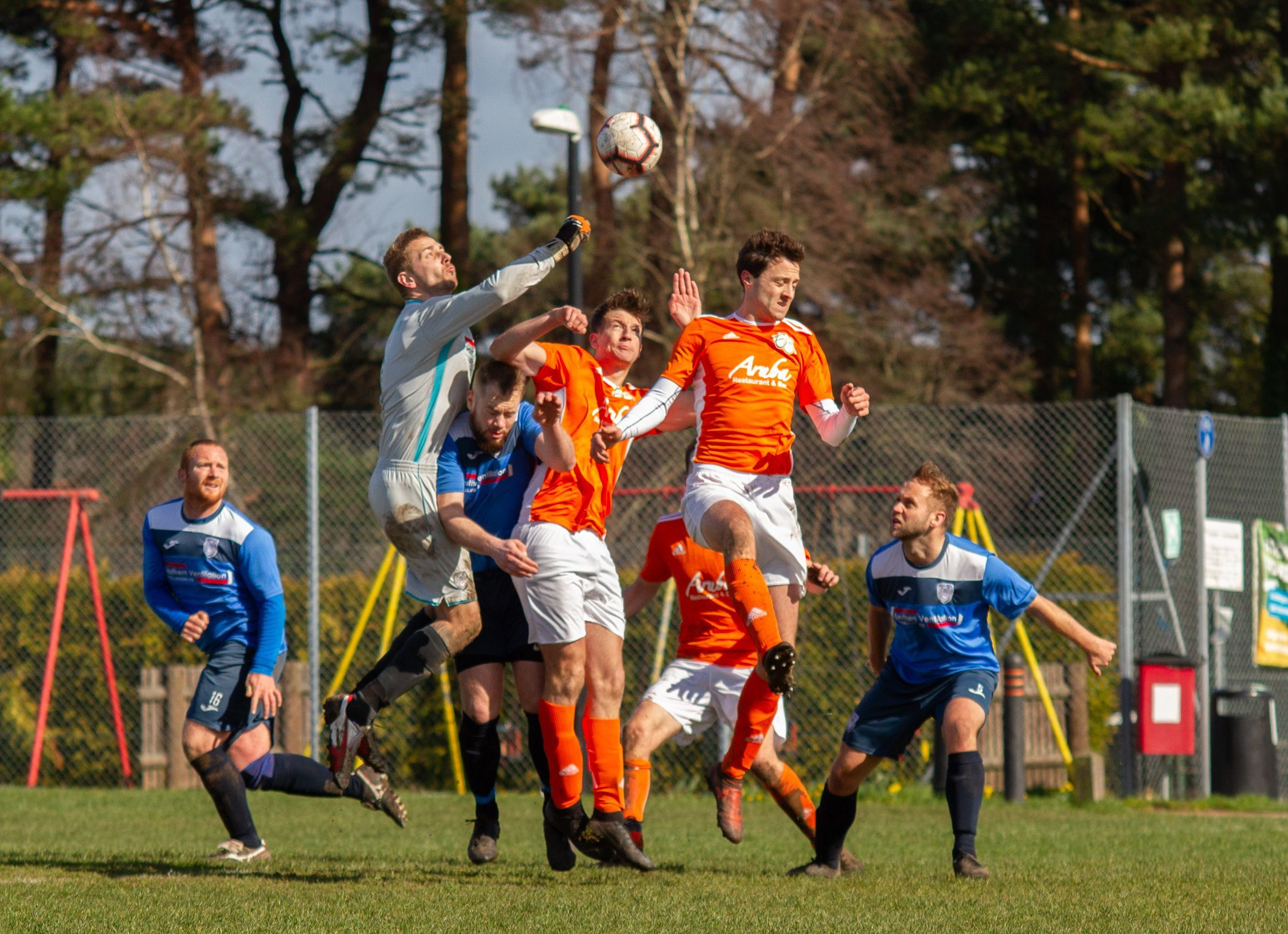 BEATEN TO THE PUNCH: Action from East Christchurch SSC's Robbins Cup semi-final win over Alderney Manor (Picture: BHFL)