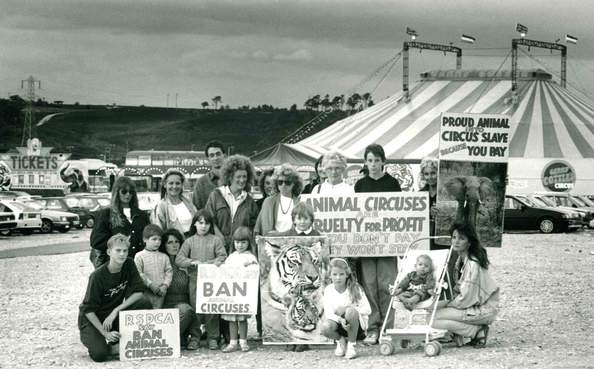 Residents protest against the use of animals outside Gerry Cottle's Circus in Tower Park in August 1990. Picture: Bournemouth Daily Echo.