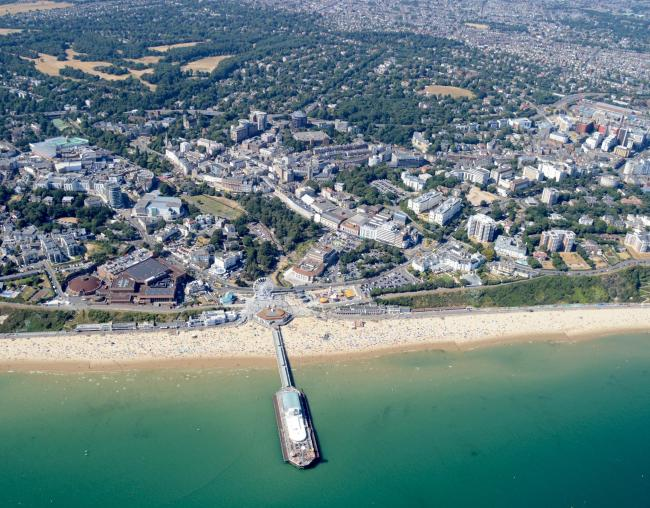 Bournemouth Pier, seafront and the Bournemouth town centre. Picture: Stephen Bath.