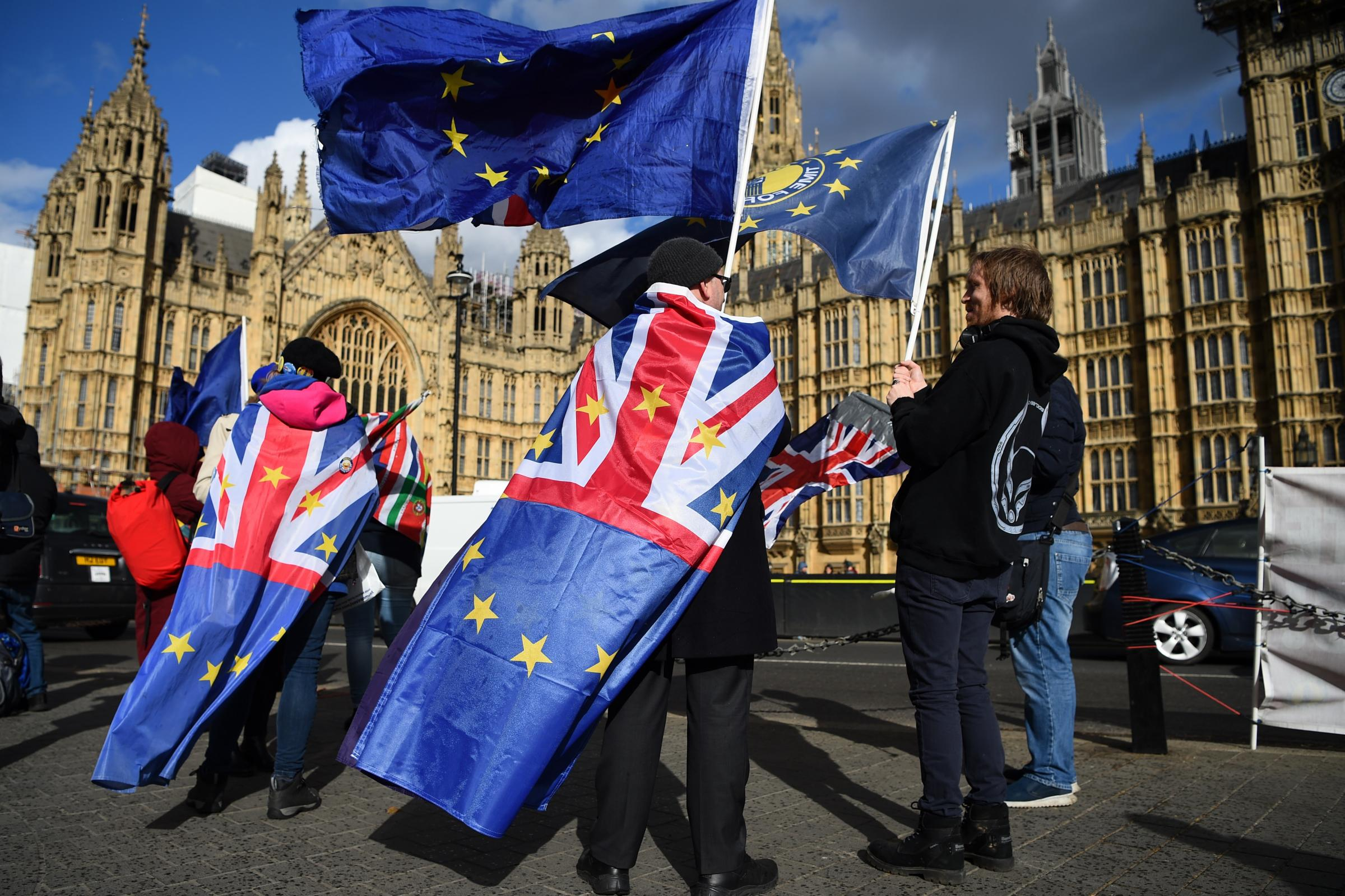 Anti-Brexit supporters outside the Houses of Parliament, as MPs vote to delay Brexit beyond the scheduled departure date of March 29