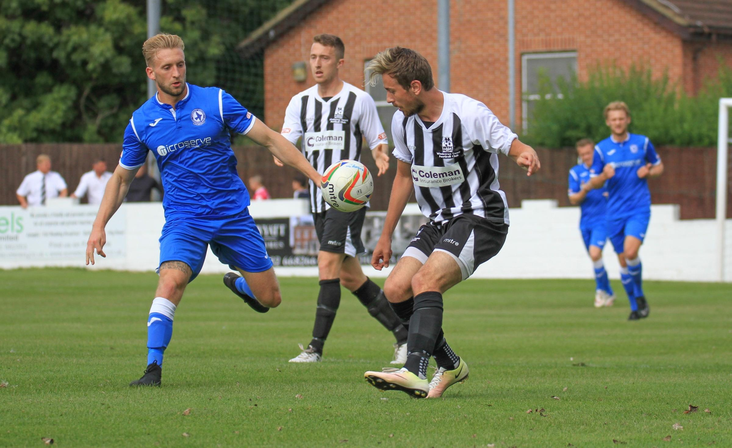 WELCOME RETURN: Sam Bayston in action for Wimborne last season (Picture: WTFC)