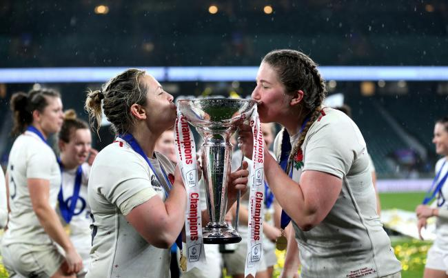 PRIZE TIME: Poppy Cleall, right, kisses the trophy after the final whistle at Twickenham (Picture: Steven Paston/PA)