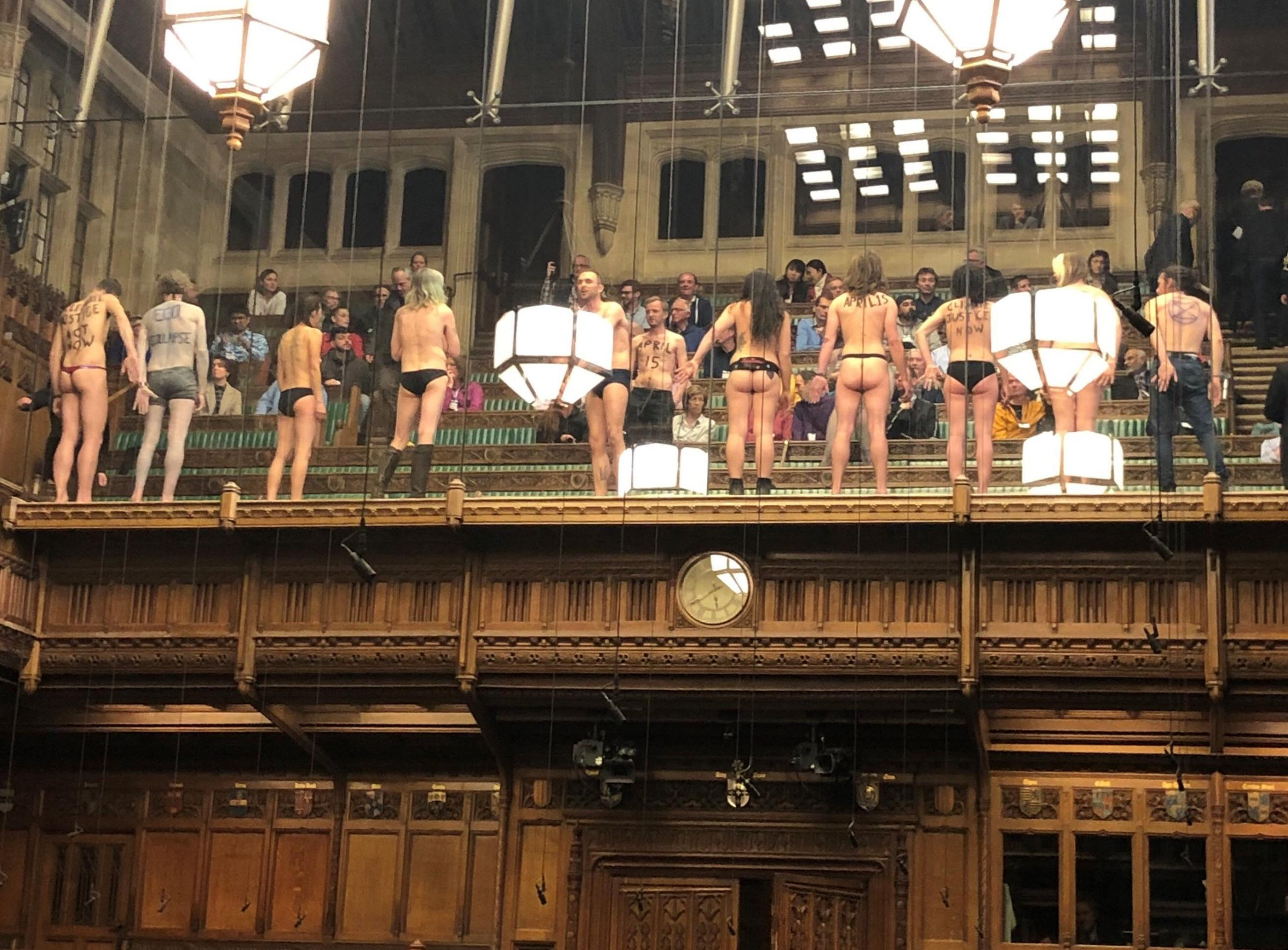 Climate change protesters in the House of Commons, as photographed by MP James Heappey