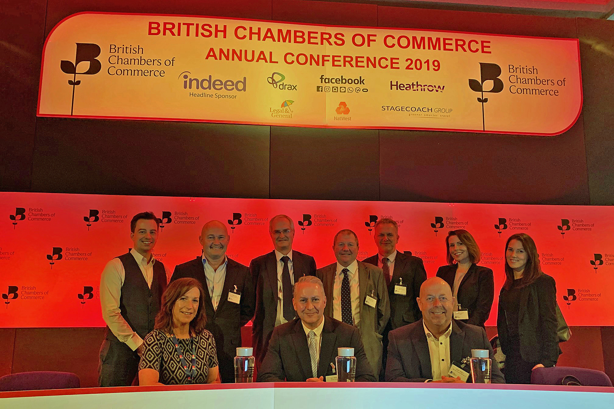Ian Girling (front, centre) and other Dorset Chamber representatives at the British Chambers of Commerce conference