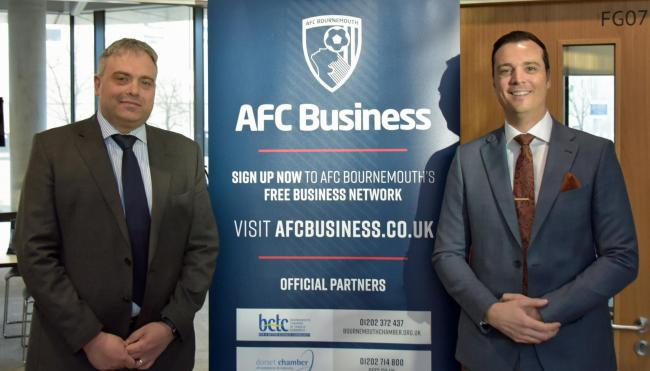 Jim Andrews (left) of Bournemouth University and Rob Mitchell of AFC Bournemouth at the AFC Business networking breakfast
