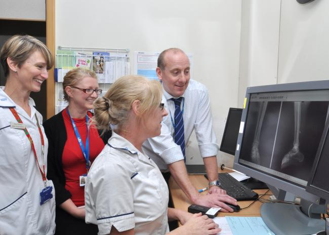 Image caption: (L-R) Paula Reynolds, Nikki Kelsall, Kate Wallis and Simon Richards from the hospital's virtual fracture clinic team