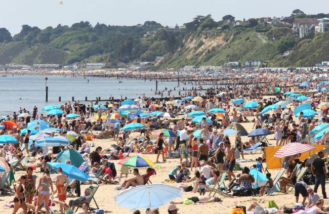Bournemouth beach on the hot Spring Bank Holiday Monday last year