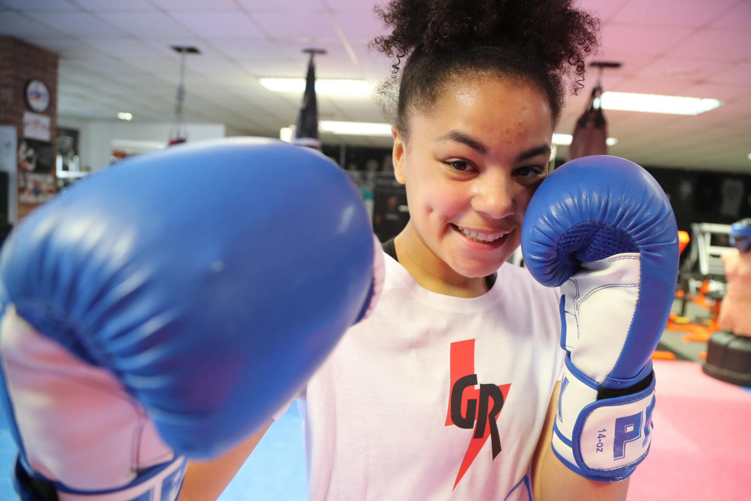INSPIRATION: Gabrielle Reid, 15, who has right hemiplegia, a form of cerebral palsy, was set to compete in her second boxing contest in Bournemouth on Saturday