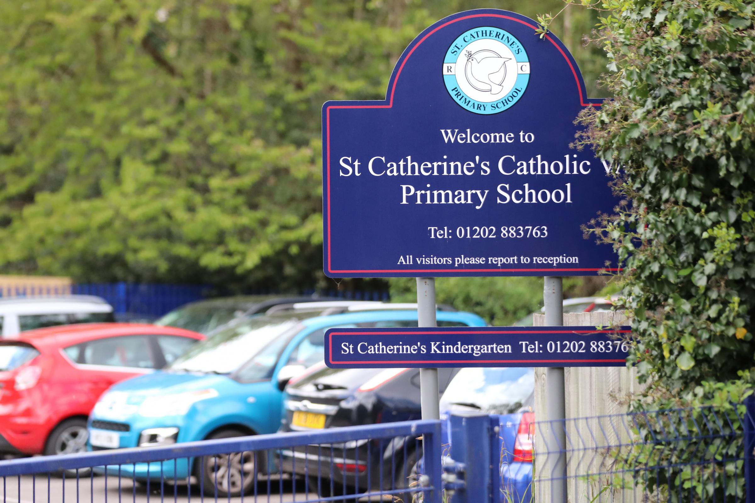 The entrance to St Catherine's Catholic Primary School at Cutlers Place in Colehill..