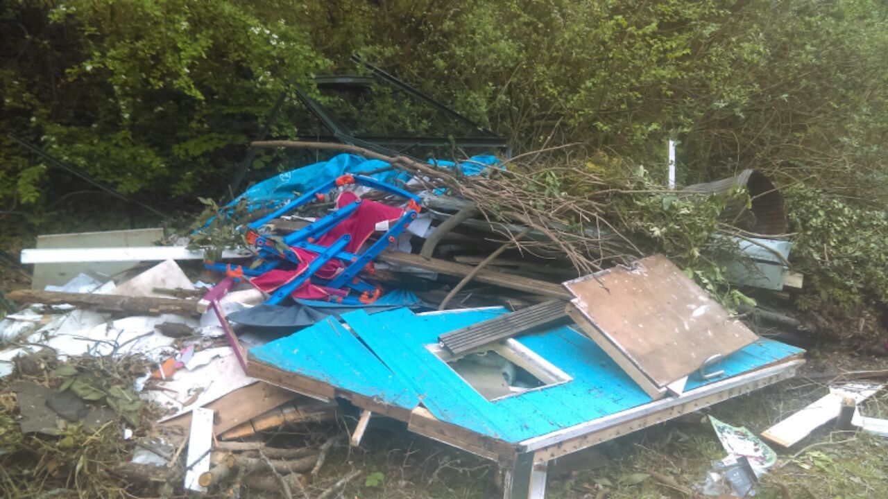 Travellers leave behind piles of rubbish after camping at Creekmoor park and ride