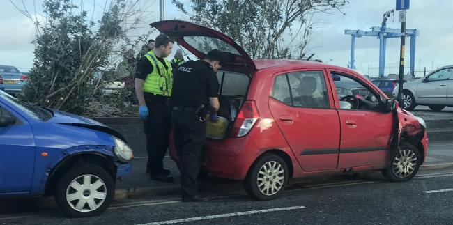 Police at the scene of a crash in West Quay Road on April 26, 2019. Picture by Jess Wicks