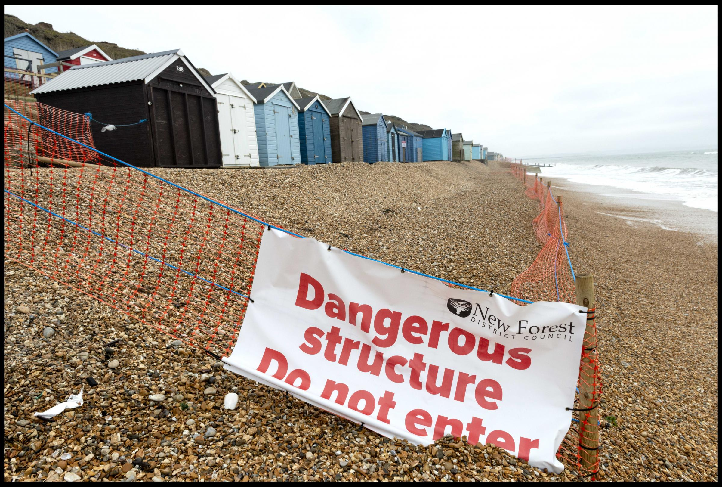 DANGER: New Forest District Council fenced off a section of beach at Milford-on-Sea earlier this year