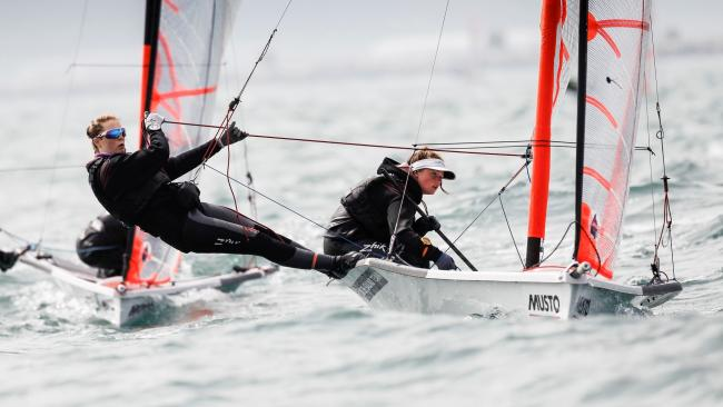 TALENTED TEAM: Poole's Millie Aldridge and Freya Black will be competing in the 29er class at the Youth Sailing World Championship (Picture: Paul Wyeth/RYA)
