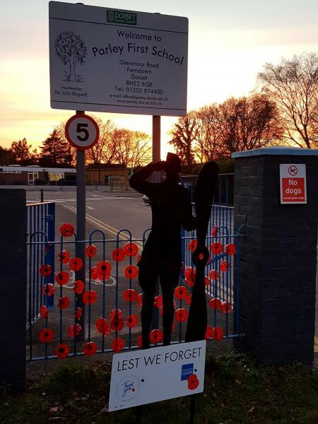 Another silent soldier silhouette outside Parley First School in West Parley. Image courtesy of West Parley Parish Council