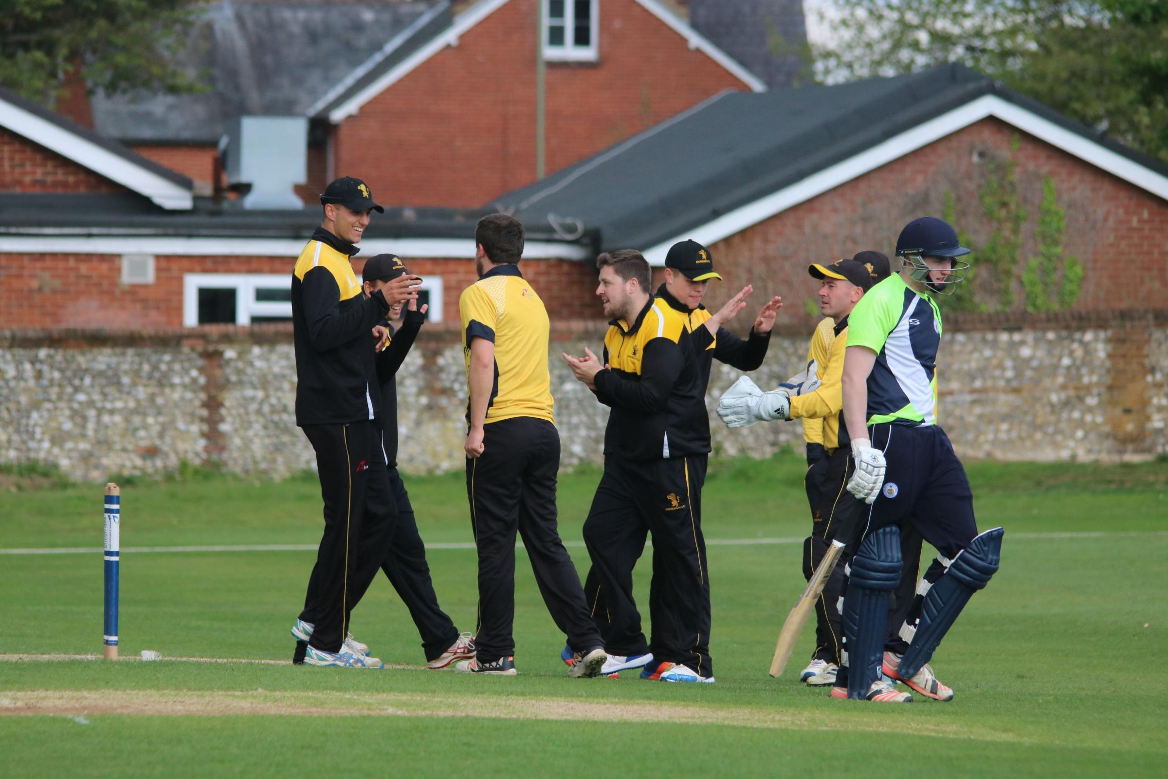 STRONG START: bournemiouth celebrate after claiming a wicket at Basingstoke on Saturday (Picture: James Robinson)