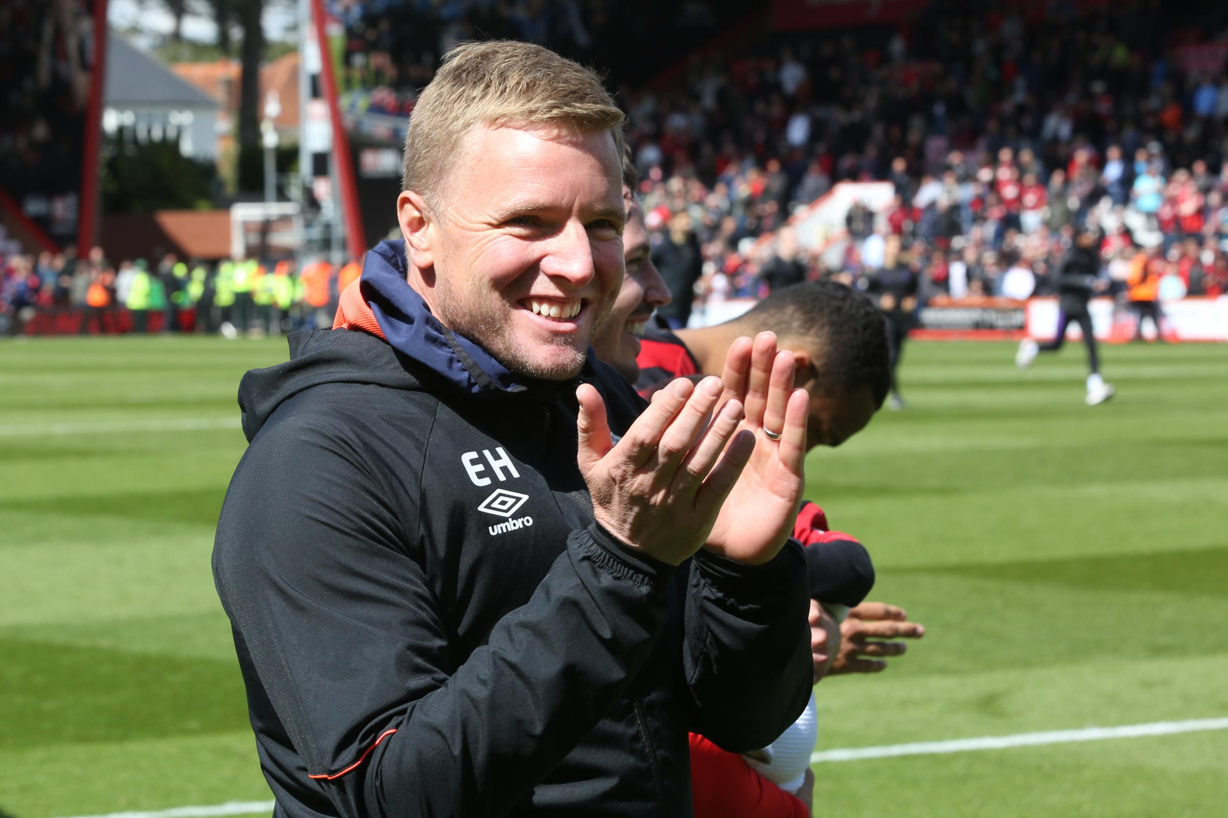 AFC Bournemouth v Tottenham Hotspur at Vitality Stadium. Eddie Howe leads the team on a lap of honour after the game ..