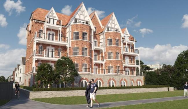 A CGI of the refused proposal for a block of flats to replace Hotel Riviera