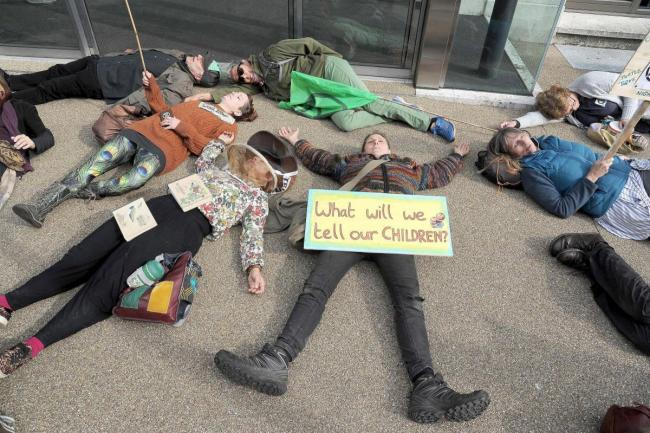 EMERGENCY: Protestors at a Dorset Council meeting earlier this year