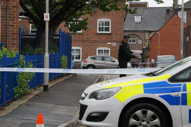 The scene of an alleged stabbing in Prosperous Street, off Lagland Street, Poole