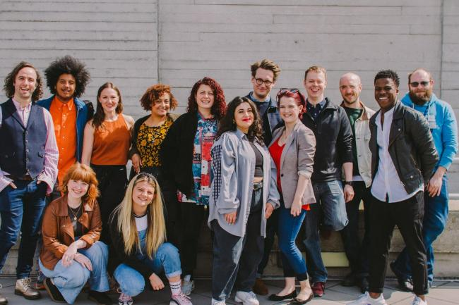 Photo caption: The Roundabout 2019 Team: Daf James, Nathan Bryon, Charley Miles, Charlotte Bate, Charlotte O'Leary, Annie Lunnette Deakin-Foster, Stef O'Driscoll, Janisè Sadik, Peter Small, Rachel Graham, Tom Davis, Dom Kennedy, Toyin O