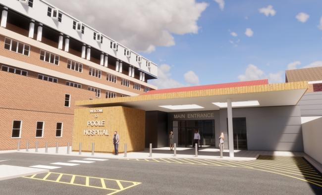 A CGI of the proposed new entrance at Poole Hospital. Picture: Bowman Riley Architects