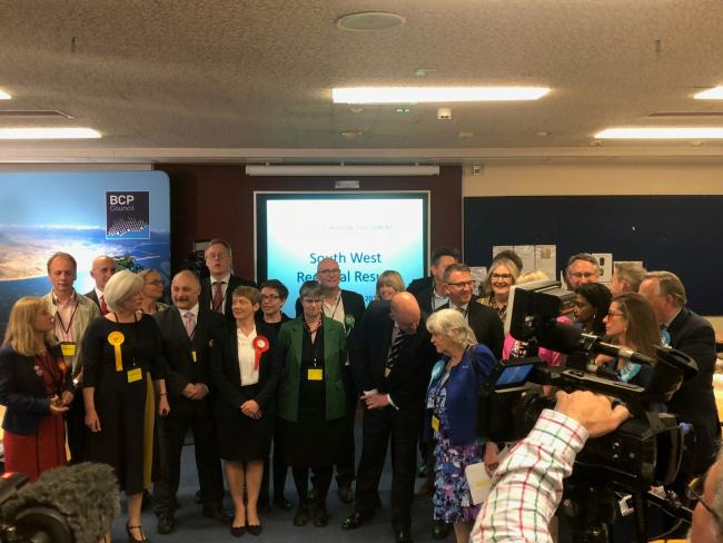 The candidates at the count at Poole Civic Centre