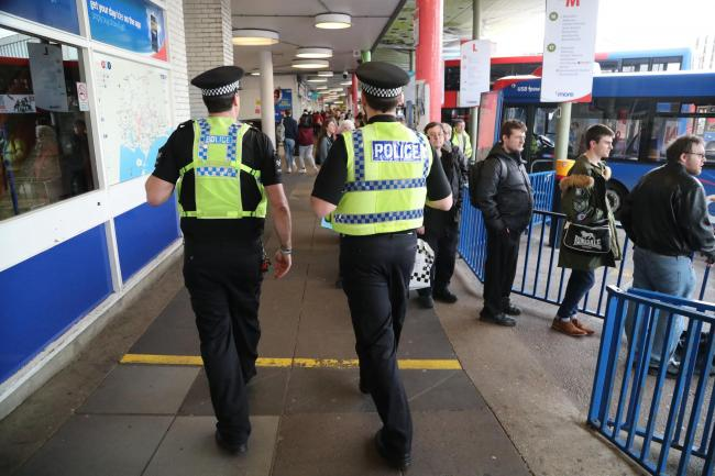 Police officers on anti-social behaviour patrol in Poole