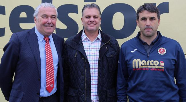 TRIO: Poole Town chairman Chris Reeves, commercial manager Alex Pike and boss Tom Killick (Picture: Andy Orman)