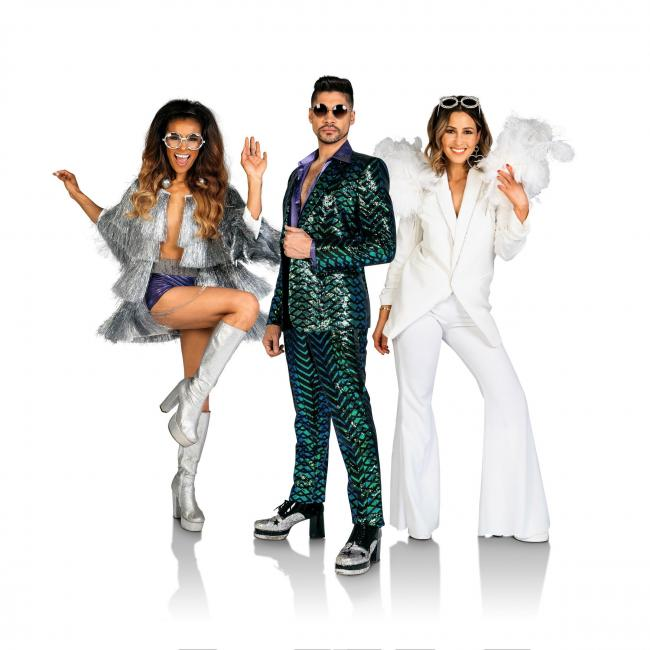 zz Stars of Rip It Up The 70s, Melody Thorton, Louis Smith and Rachel Stevens
