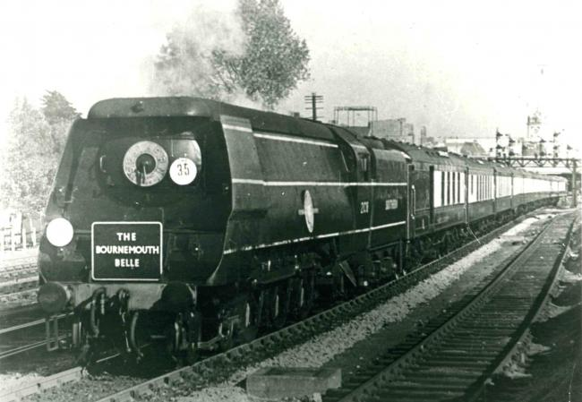 The Bournemouth Belle pulling out of Southampton Central Station in the 1950s